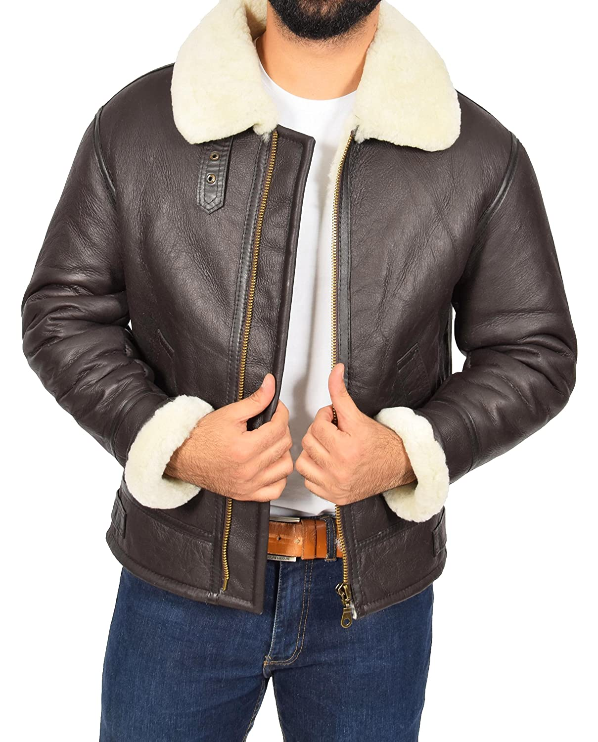 Mens Real Brown Sheepskin Flying Leather Jacket White Shearling Bomber Coat Lancer at Amazon Mens Clothing store: