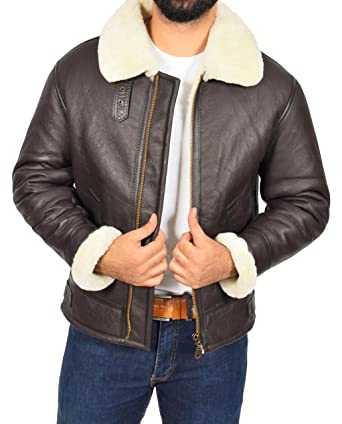 Mens Real Brown Sheepskin Flying Leather Jacket White Shearling Bomber Coat Lancer (Small)