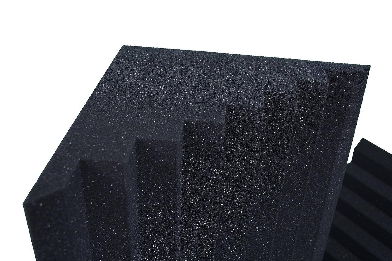 4 St. Bass-Trap, Absorberelement, Ca. 100cm x 25cm x 25cm, Dichte D30 kg/m3, Kantenabsorber Bzw. Tiefenabsorber Mit Pyramiden Profil , Akustikschaumstoff Keyhelm