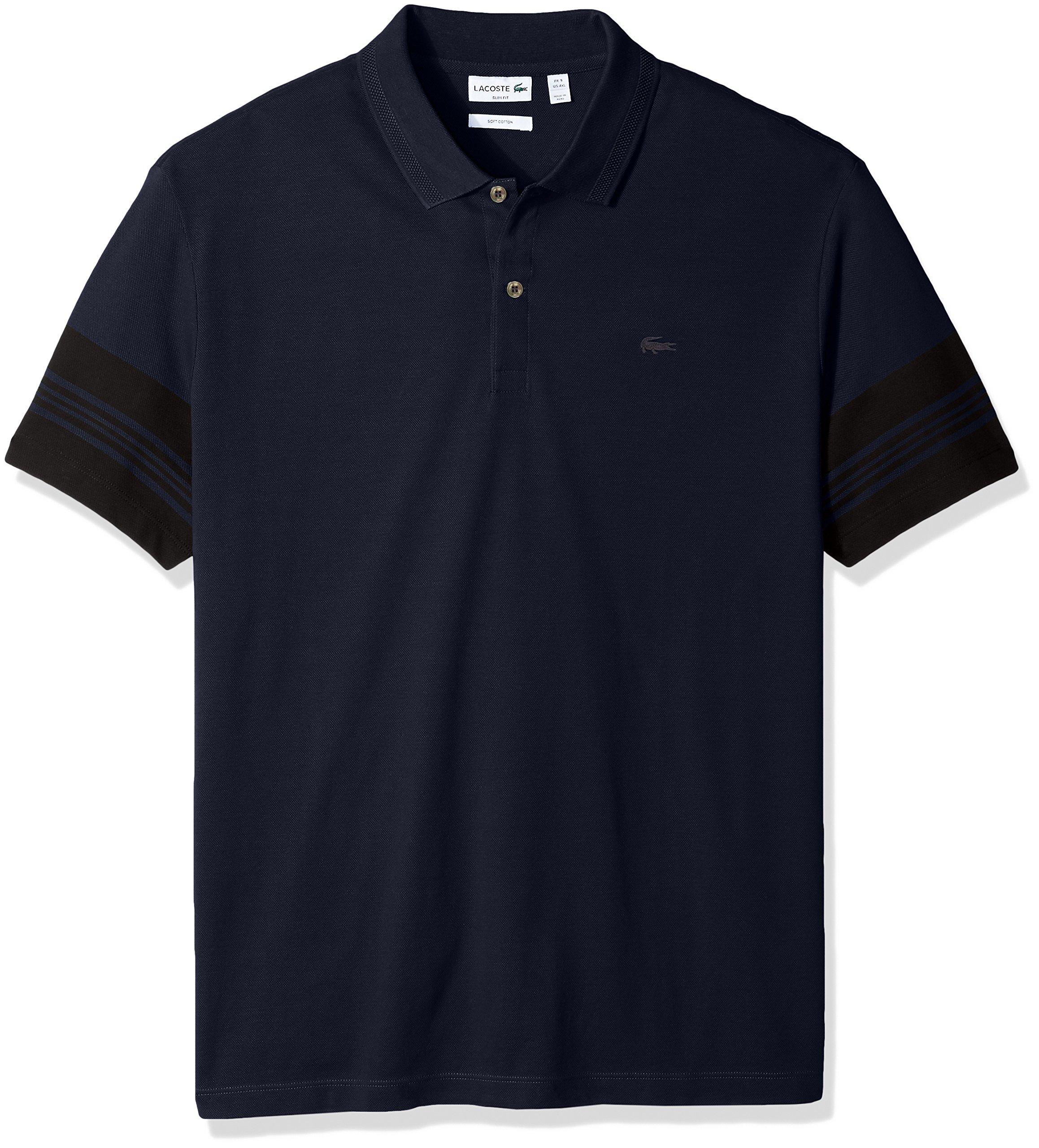 Lacoste Men's Short Subtle Stripe Sleeve Slim Fit Polo, PH2037, Navy Blue/Black, 7