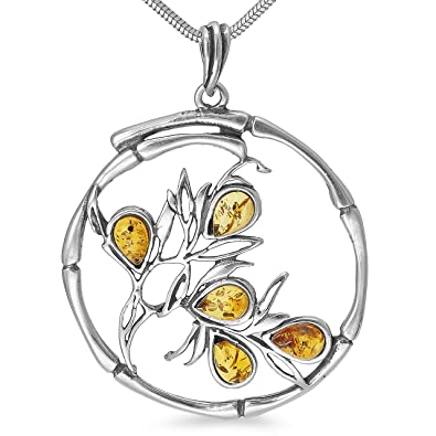 Lebensbaum Ast Weltenbaum Anhänger 925er Silber Bernstein Schmuck Amulett  Medaillon 5,5 g Silberschmuck  b1348  Amazon.de  Schmuck 4b8158dac9