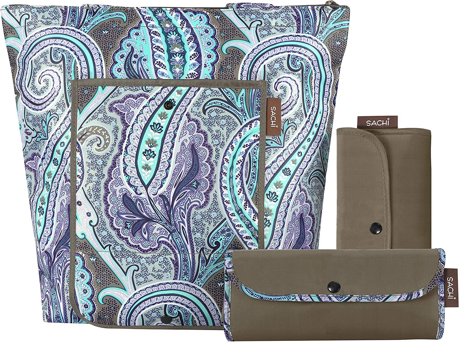 SACHI 3 Piece Market Tote Set – Insulated Thermal Reusable Grocery Bags for Cold and Hot Foods – Lightweight, Portable and Fold-able (Brown Damask Paisley)