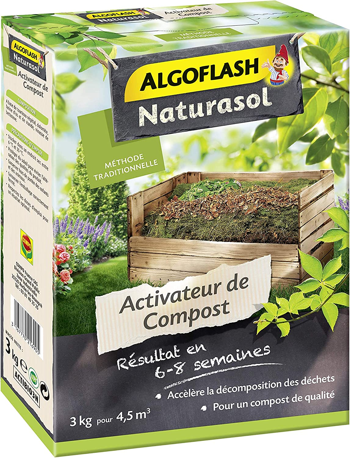 ALGOFLASH NATURASOL Activador de Compost, hasta 4, 5 m3, 3 kg, ACTIBIO3N, no aplicable: Amazon.es: Jardín