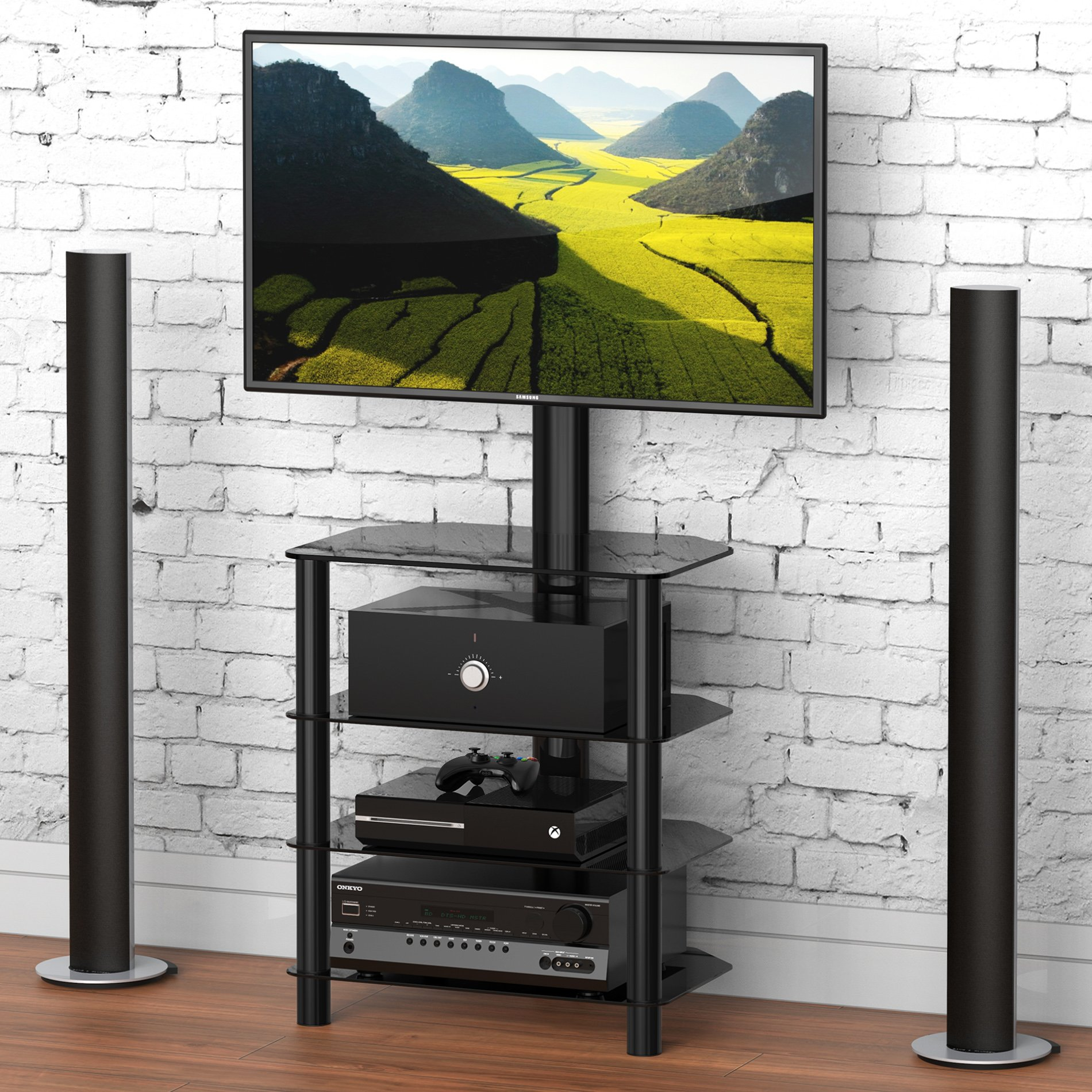 FITUEYES 4-tiers Media Component TV Stand with Mount Audio Shelf and Height Adjustable Bracket Suit for 32-55 inch LCD, LED Oled TVs or Curved TVs TW406001MB