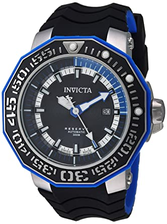 Invicta Men's 'Reserve' Automatic Stainless Steel and Silicone Casual  Watch, Color:Black