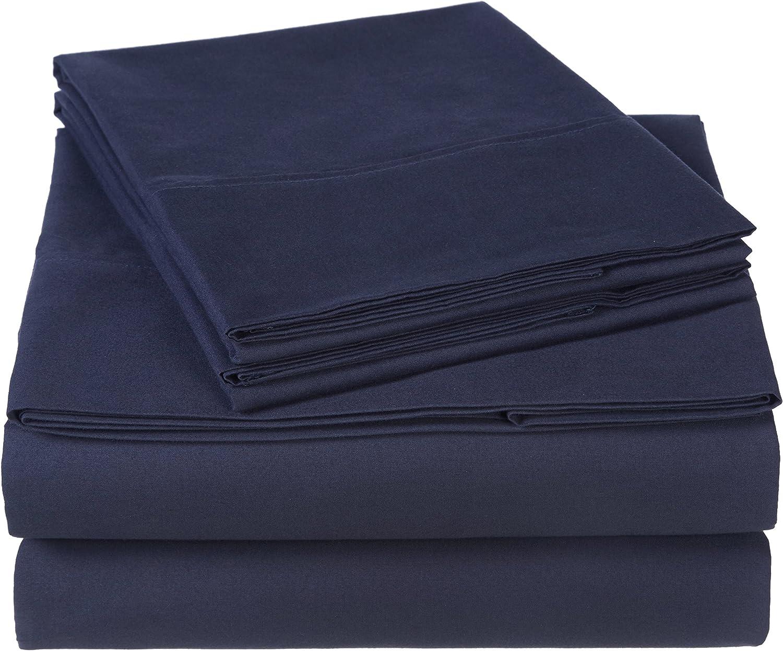 Pinzon 300 Thread Count Organic Cotton Bed Sheet Set, Full, Navy Blue