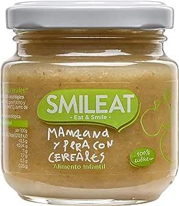 Smileat Tarrito de Manzana y Pera con Cereales - Paquete de 12 x 130 gr - Total: 1560 gr