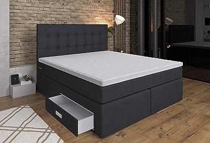 Cama con somier Ankona de 160 x 200 cm, cajón, colchón de muelles ensacados de 7 zonas, H2/H3, cubierta de espuma 3D, color antracita
