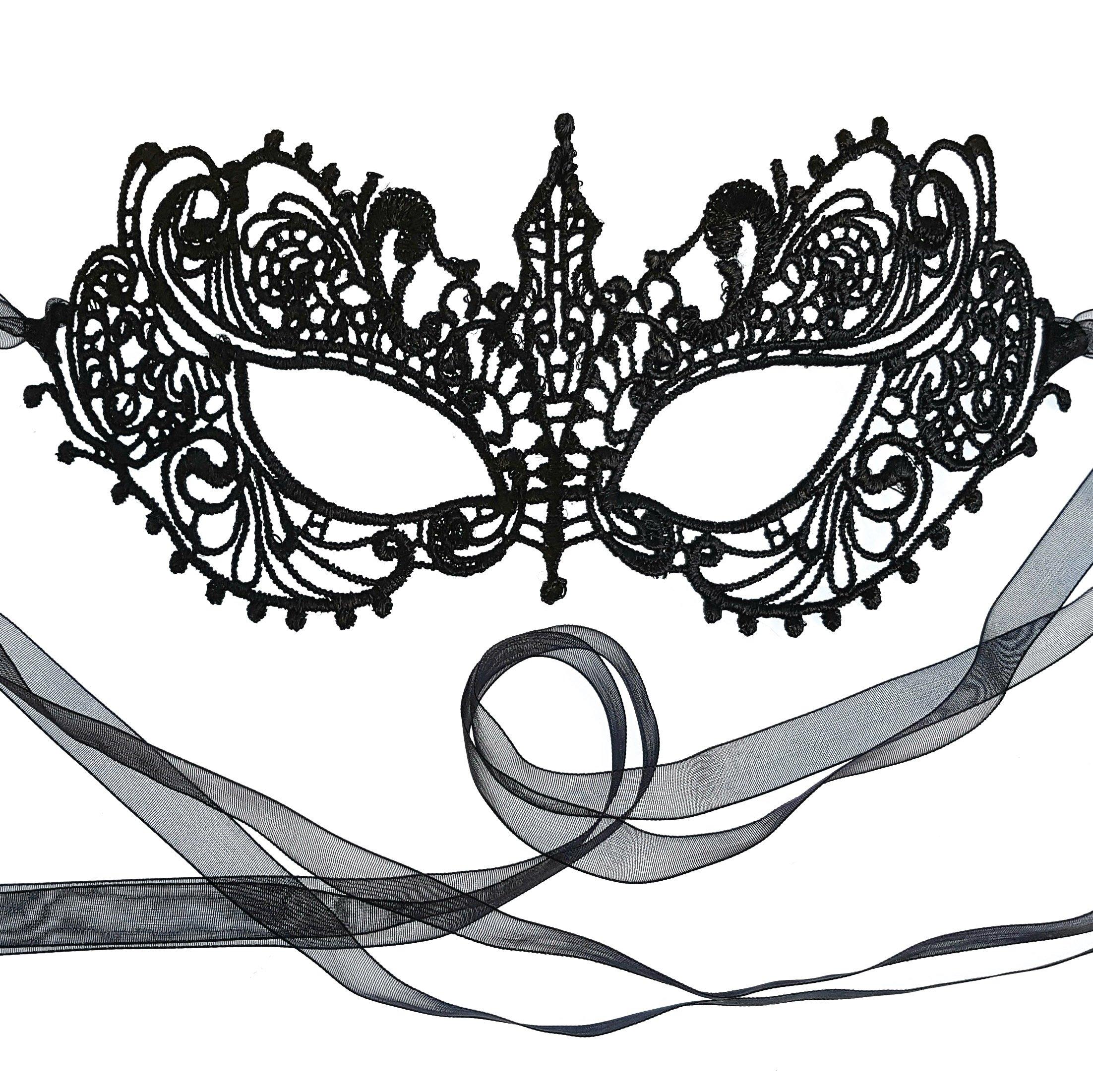 Gorgeous Genuine Black Goddess Lace Masquerade Mask by Samantha Peach