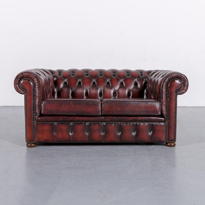 Ansprechend Breites Sofa Ideen Von Conceptreview: Chesterfield Leder Rot Zweisitzer Couch Echtleder