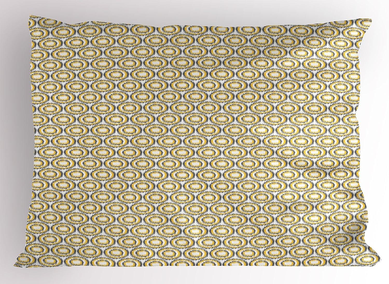 Lunarable Beige Pillow Sham Hand Drawn Style Floral Abstract Motifs Interwoven Effect Petals with Swirls Curls Beige Tan 26 X 20 Decorative Standard Size Printed Pillowcase