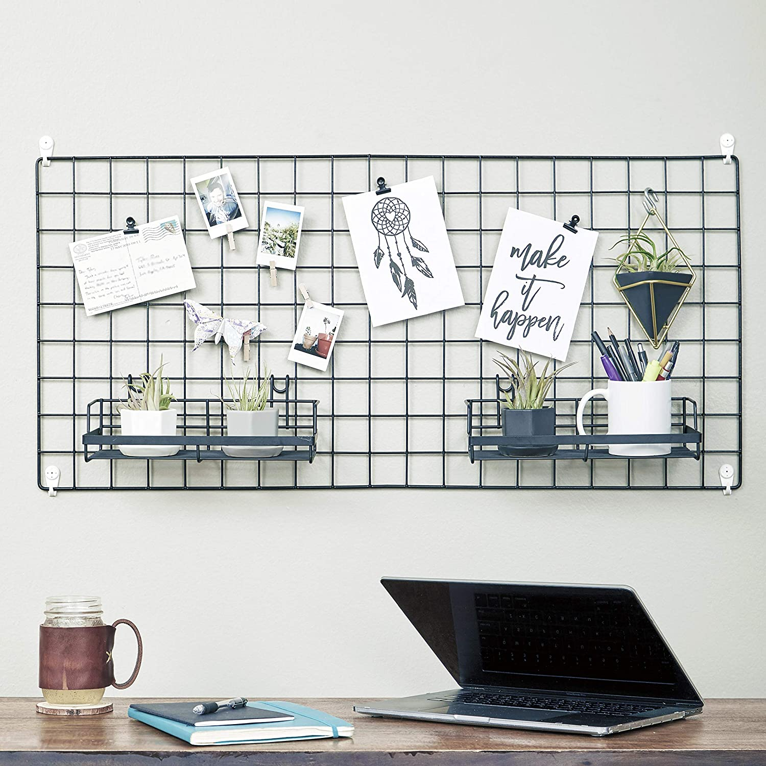 Amazon Com Wire Hanging Wall Grid Black Home Decor Office Storage And Organizer Polaroid Photogrid Plant Hanging Minimalistic Aesthetic Desk Decorations Hanging Hooks Included Bonus Clips