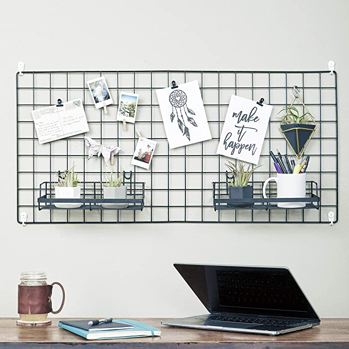 Wire Hanging Wall Grid - Black - Home Decor - Office Storage and Organizer - Polaroid Photogrid - Plant Hanging - Minimalistic Aesthetic - Desk Decorations - Hanging Hooks Included - Bonus Clips