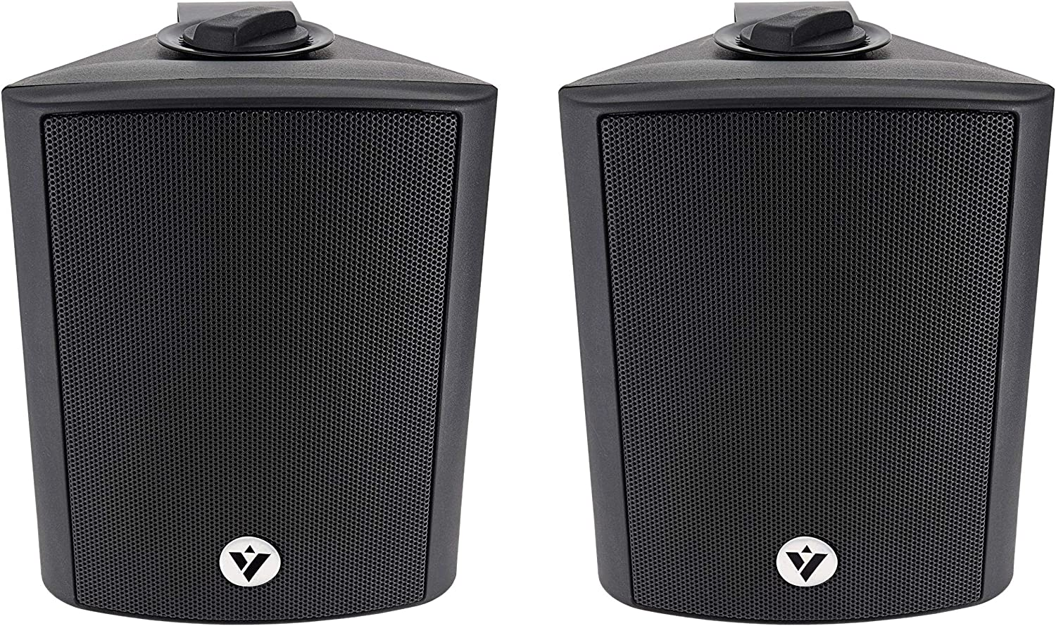 """Voyz 4"""" Black Architectural Speakers 70V 100V 8ohm Wall Speakers- Pair of 2 Indoor and Outdoor 2-Way Passive Loudspeakers 