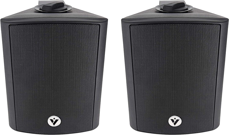 "Voyz 5 1/4"" Black Architectural Speakers Wall Speakers 70V 100V- Pair of 2 Indoor and Outdoor Speakers 2-Way Passive Loudspeakers | Water Resistant | Full Range Dynamic Speakers | Wall Mounted"