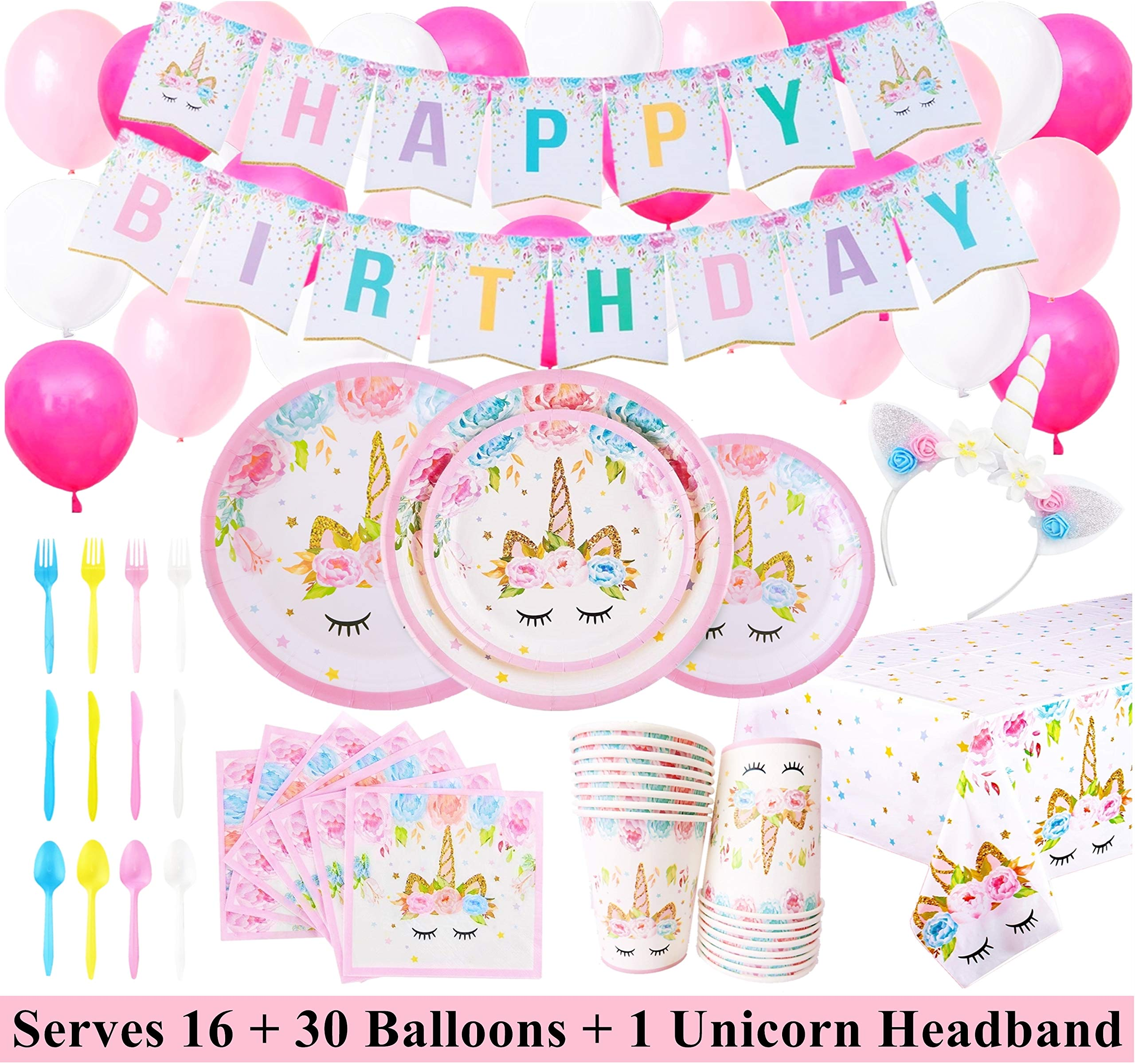 Unicorn Party Supplies Set with BONUS Glittery Unicorn Headband and 30 Balloons | 145 Piece Disposable Unicorn Themed… 3