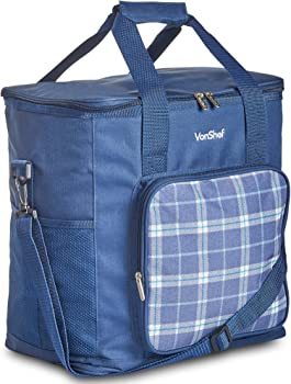 #1 VonShef - 4 Person Blue Tartan Picnic Backpack With Cooler Compartment