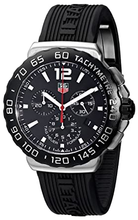 a7fa6923ccd0 Image Unavailable. Image not available for. Color  TAG Heuer Men s  CAU1110.FT6024 Formula 1 Black Dial Black Rubber ...