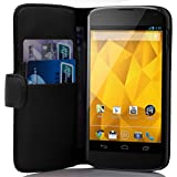 Cadorabo ! PREMIUM - Book Style Hülle im Portemonnaie Design für LG Google Nexus 4 in OXID-SCHWARZ