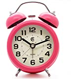 "JCC 3"" Retro Twin Bell Silent Non Ticking Sweep Second Hand Bedside Desk Analog Quartz Movement Alarm Clock with 5 min Snooze Repeat Alarm, Nightlight and Loud Alarm, Battery Operated (Hot Pink)"