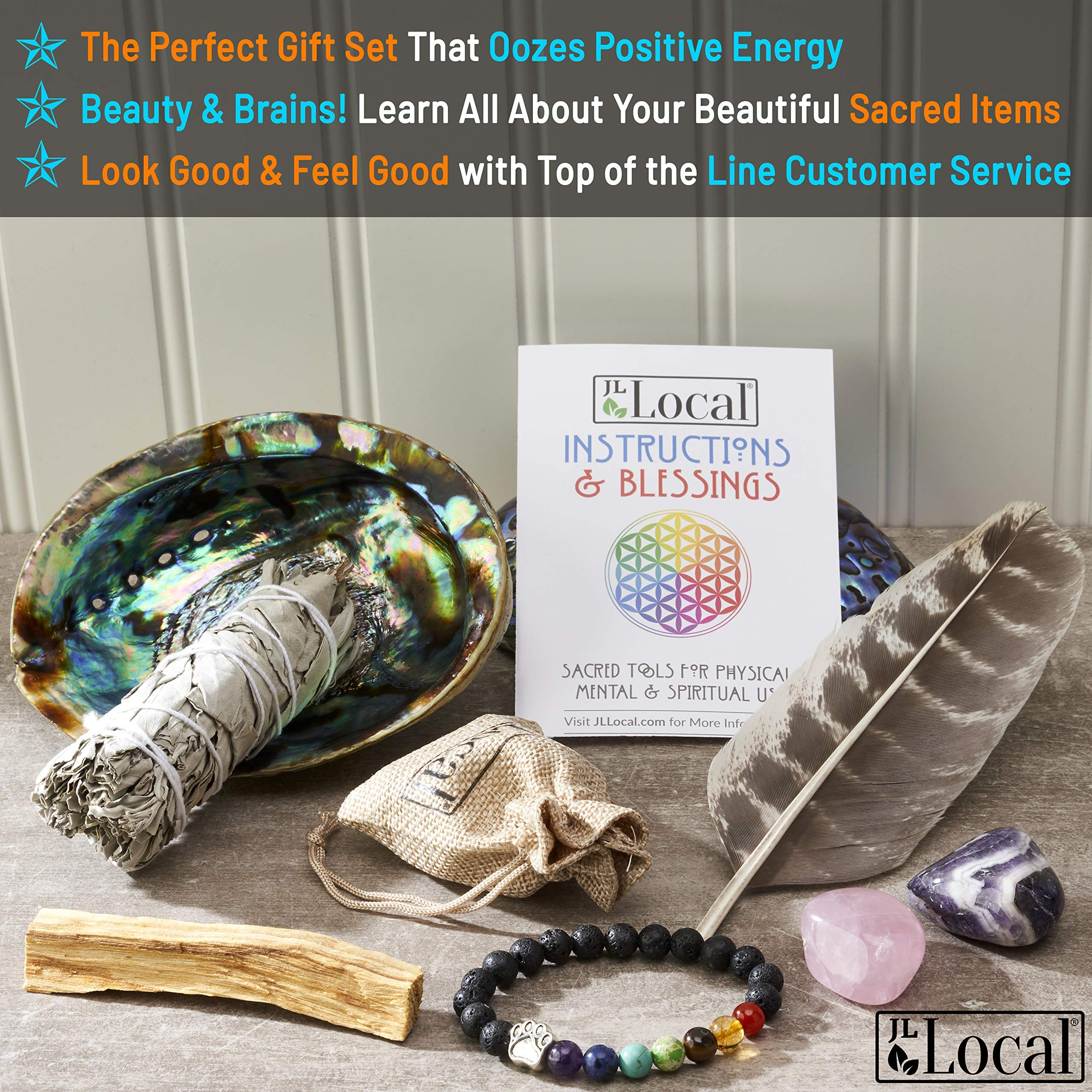 JL Local Chakra Smudging Kit - 10 Items Including White Sage Smudge Sticks, Palo Santo, Amethyst, Rose Quartz, Abalone Shell, Stand & Gift by JL Local (Image #2)