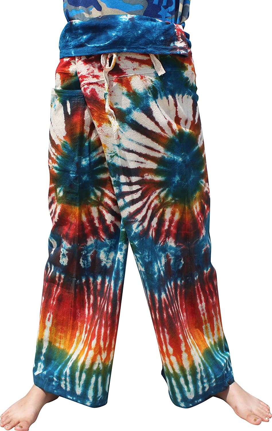 bluee Cream Red RaanPahMuang Thick Muang Cotton Thai Fishermans Pants Vibrant TieDyed Tie Dye