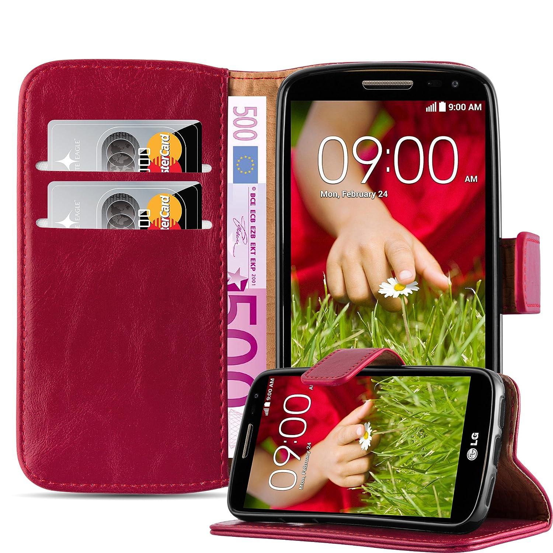 Cadorabo Funda Libro para LG G2 Mini en Rojo Burdeos – Cubierta Proteccíon con Cierre Magnético, Tarjetero y Función de Suporte – Etui Case Cover ...