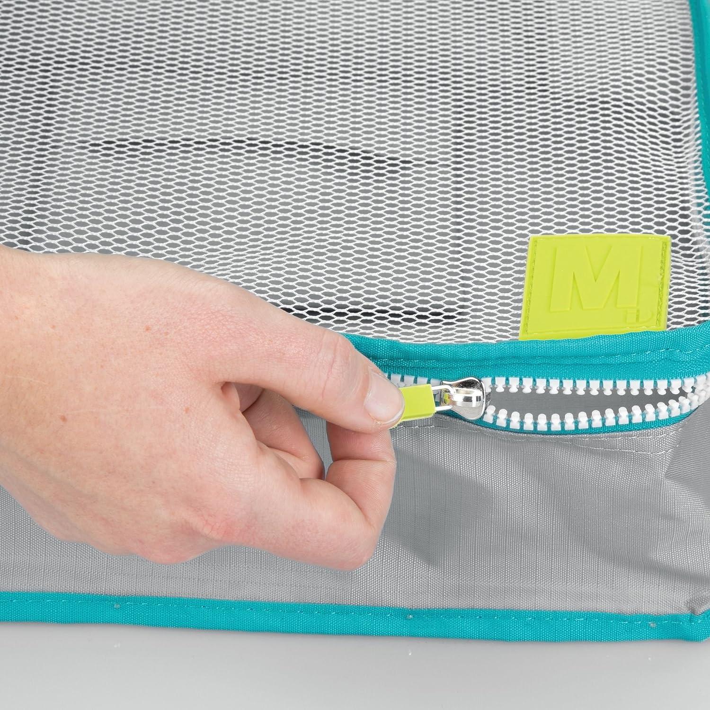 mDesign Juego de 5 Cajas de Almacenamiento con Cremallera Turquesa y Blanco Gris Bolsas de Tela o Bolsas de Viaje para Maletas o Bolsos Cestas de poli/éster Transpirable con Malla