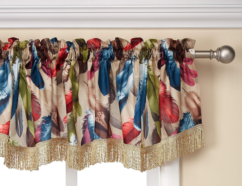 Violet Linen Decorative Chenille Feathers Design, 60 x 15 Window Valance - Burgundy