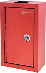 AdirOffice Large Key Drop Box – Large Capacity Commercial Grade Storage Box – Safe & Secure Parcel & Packages - for Home & Business Use (Red)