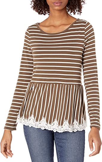 WallFlower Womens Stripped Pullover with Lace Hem