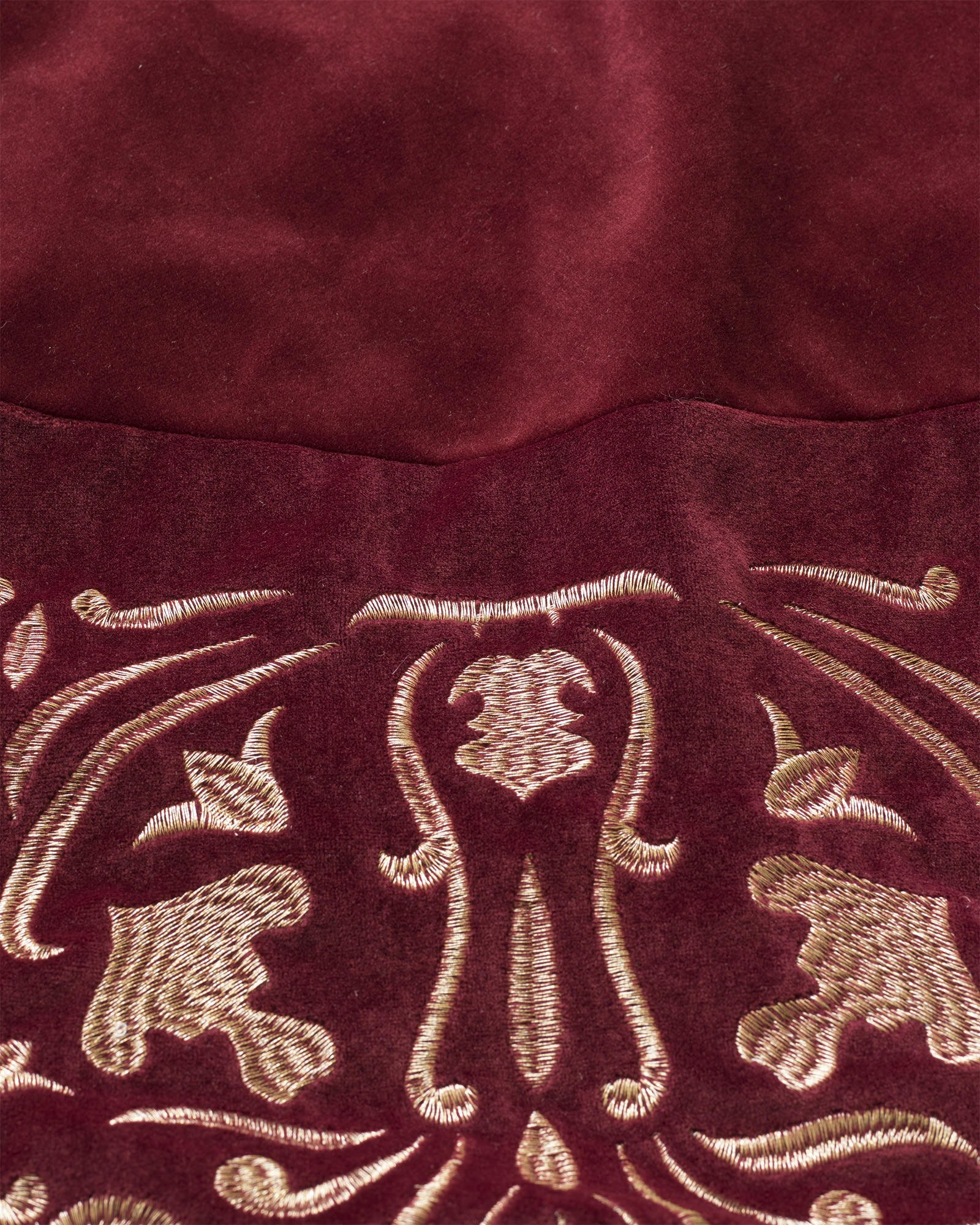 Balsam Hill Luxe Embroidered Velvet Tree Skirt, 60 inches, Wine by Balsam Hill (Image #3)