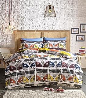 Retro Camper Van Duvet Covet Bedding Set Single Double King Polka Dot Reverse