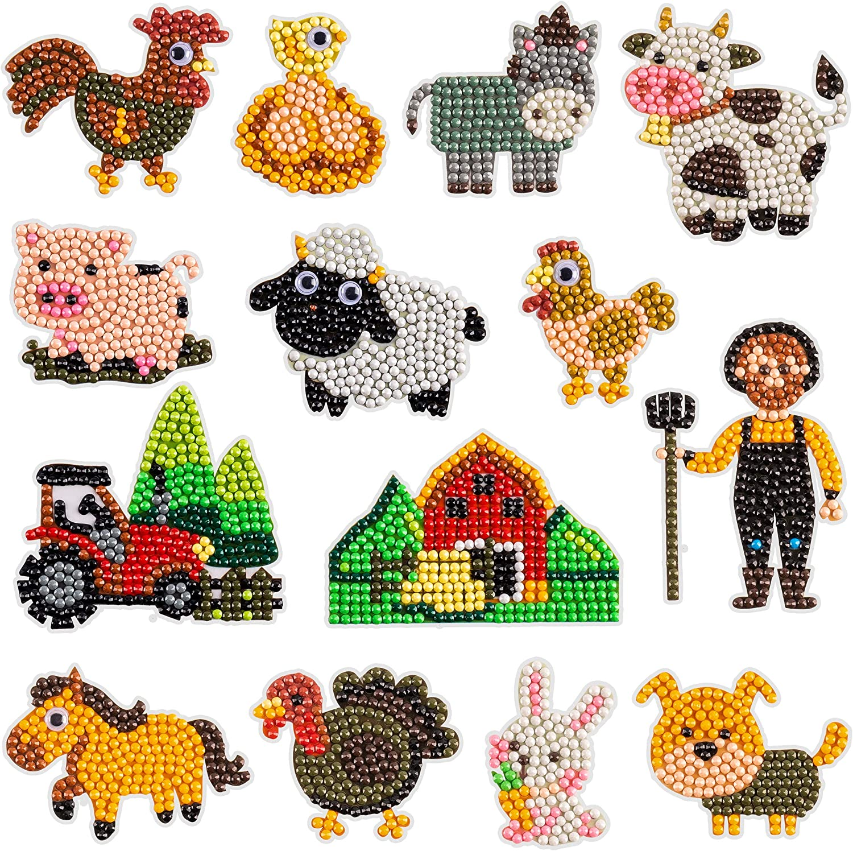 BeYumi 14Pcs 5D DIY Farm Animal Diamond Painting Stickers for Kids Handmade Digital Diamond Arts Craft Mosaic Stickers Creative Crystal Rhinestone Painting by Numbers Kits Gift for Adult Beginners