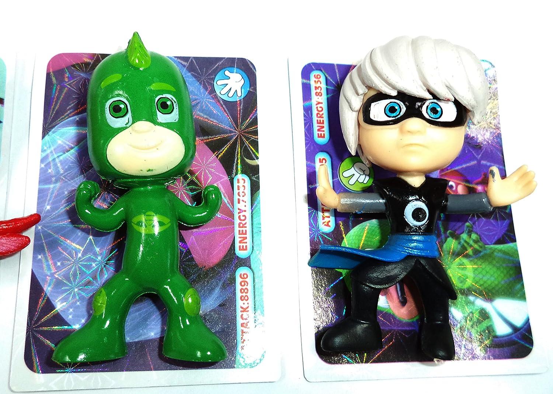 PJ Masks, Héroes en pijama. Lote de 5 Figuras inspiradas en la famosa serie de tv..Medidas: 7,5x4x3,5 cms. aprox..: Amazon.es: Juguetes y juegos