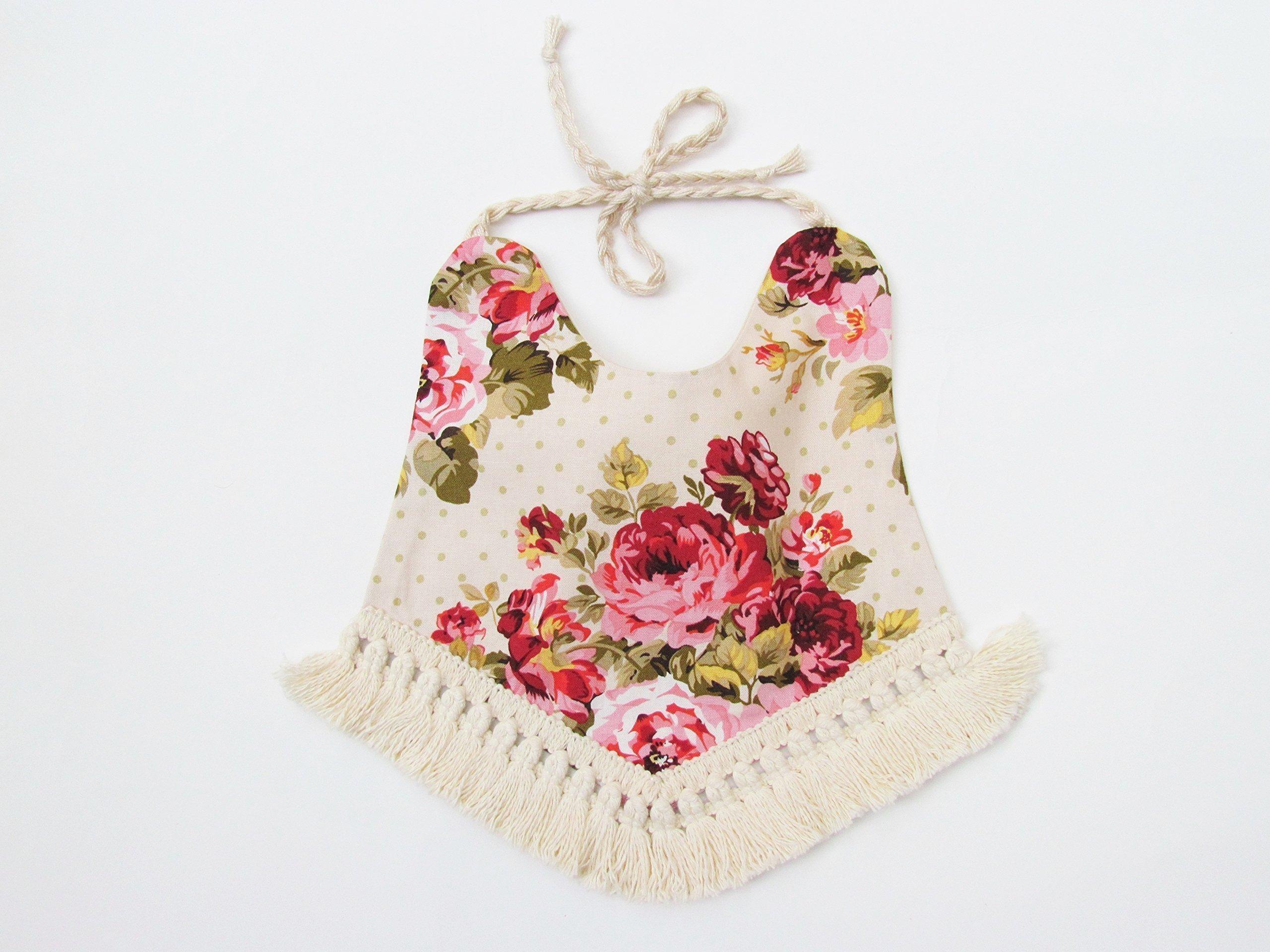 Baby Bib Reversible Boho Floral Design drool bib for Girls baby bib kerchief baby bib teether