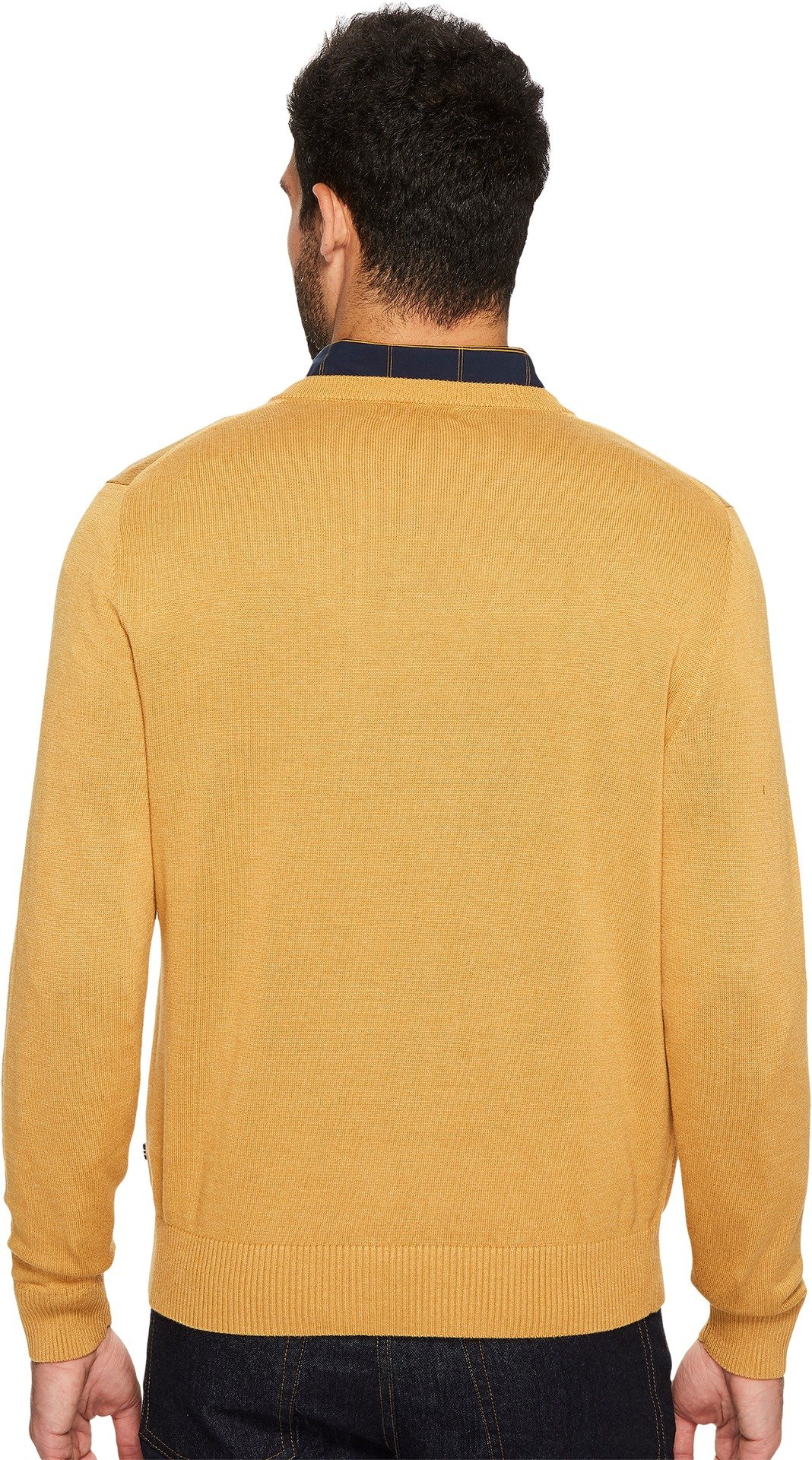 Nautica Men's Standard Long Sleeve Solid Classic V-Neck Sweater, Caramel Heather, Small