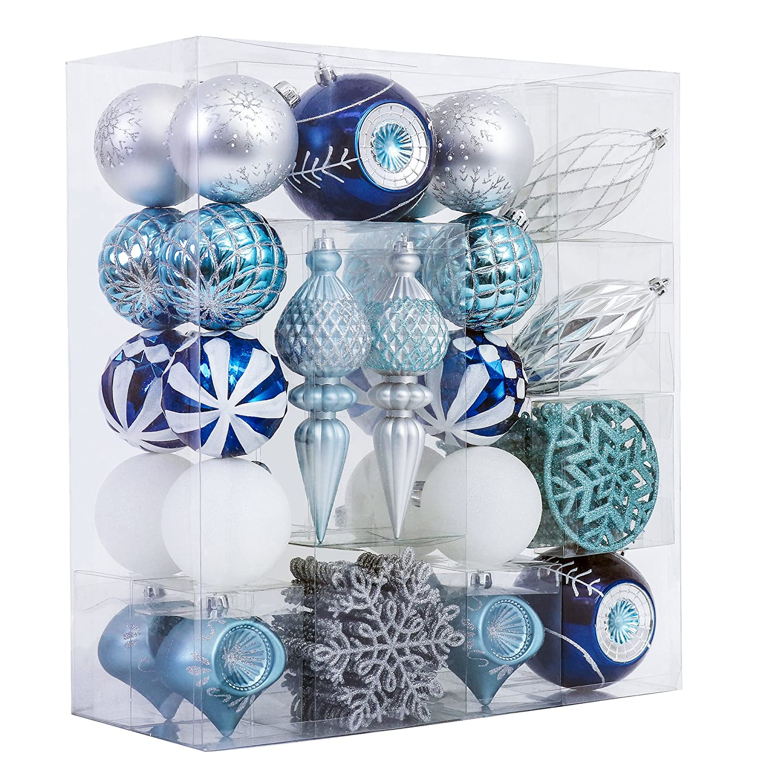 V&M VALERY MADELYN 50ct Shatterproof Christmas Balls Ornaments Regal Peacock, 1.97inch-6.89inch /5CM-17.5CM, Metal Hooks Included,Themed with Tree Skirt(Not Included) PE10-S/50-38.08.28.16.41