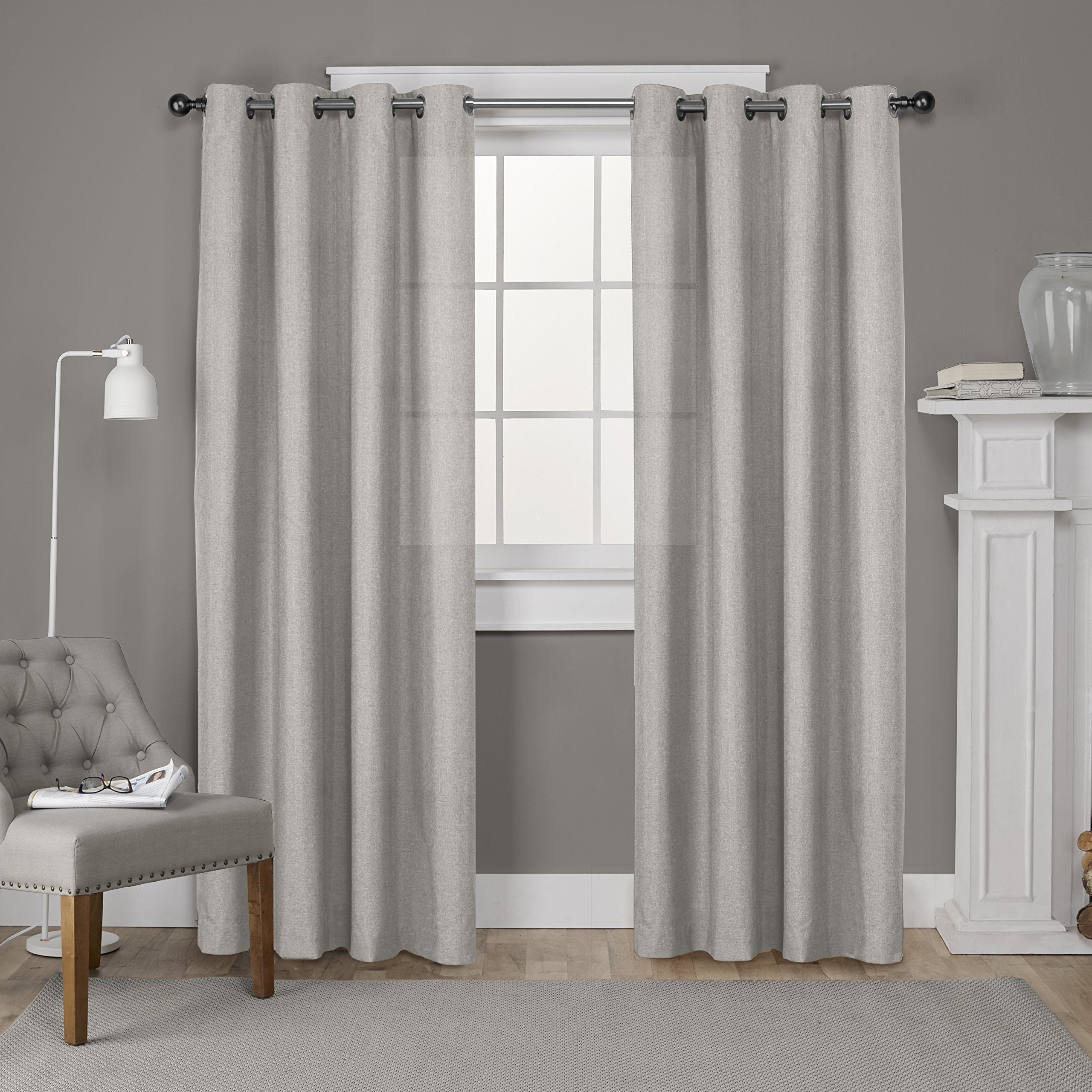 Exclusive Home Curtains Loha Linen Window Curtain Panel Pair with Grommet Top, 52x84, Beige, 2 Piece
