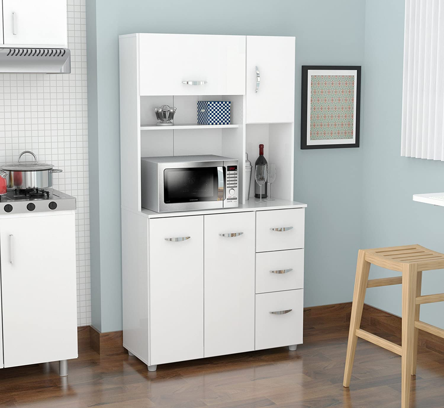 Amazon com inval america 4 door storage cabinet with microwave cart laricina white kitchen dining