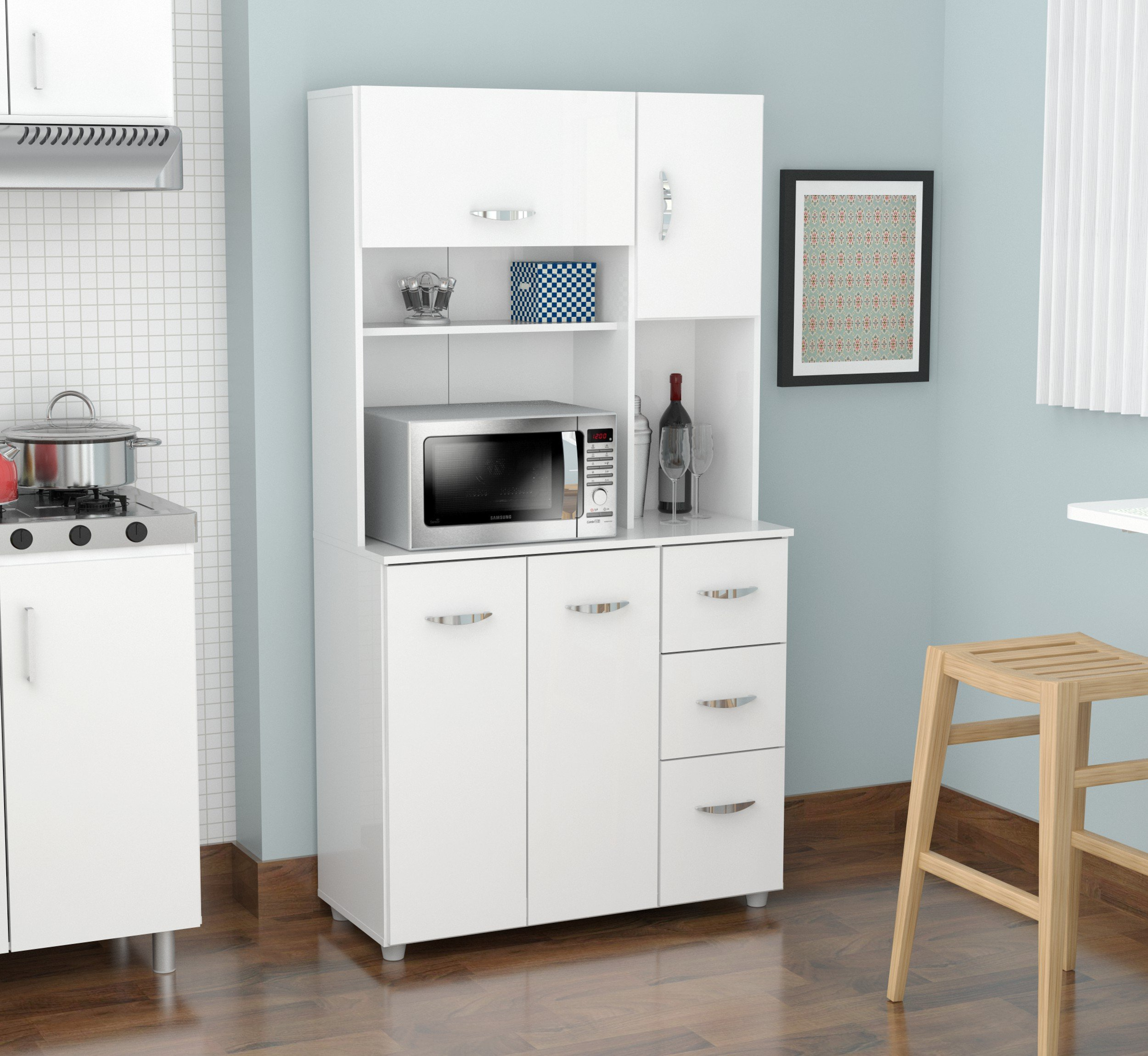 Inval America 4 Door Storage Cabinet with Microwave Cart, Laricina White by Inval America (Image #2)