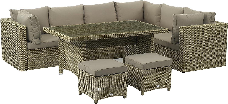 Naunton Manor x16wsams022Modular Sofa mit Hocker und Casual Dining Tisch–Latte