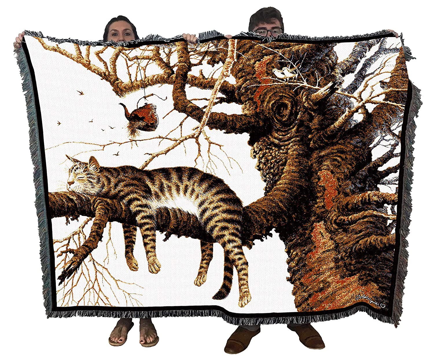 Maggie The Mess Maker Cat by Charles Wysocki Woven Tapestry Blanket with Fringe Cotton 72x54 Cotton USA Pure Country Weavers