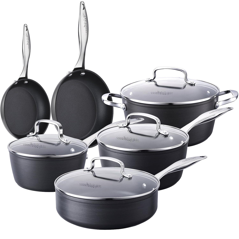COOKSMARK Kingbox 10-Piece Hard-Anodized Aluminum Nonstick Cookware Set, Scratch Resistant Pots and Pans Set, Dishwasher Safe Oven Safe, Grey