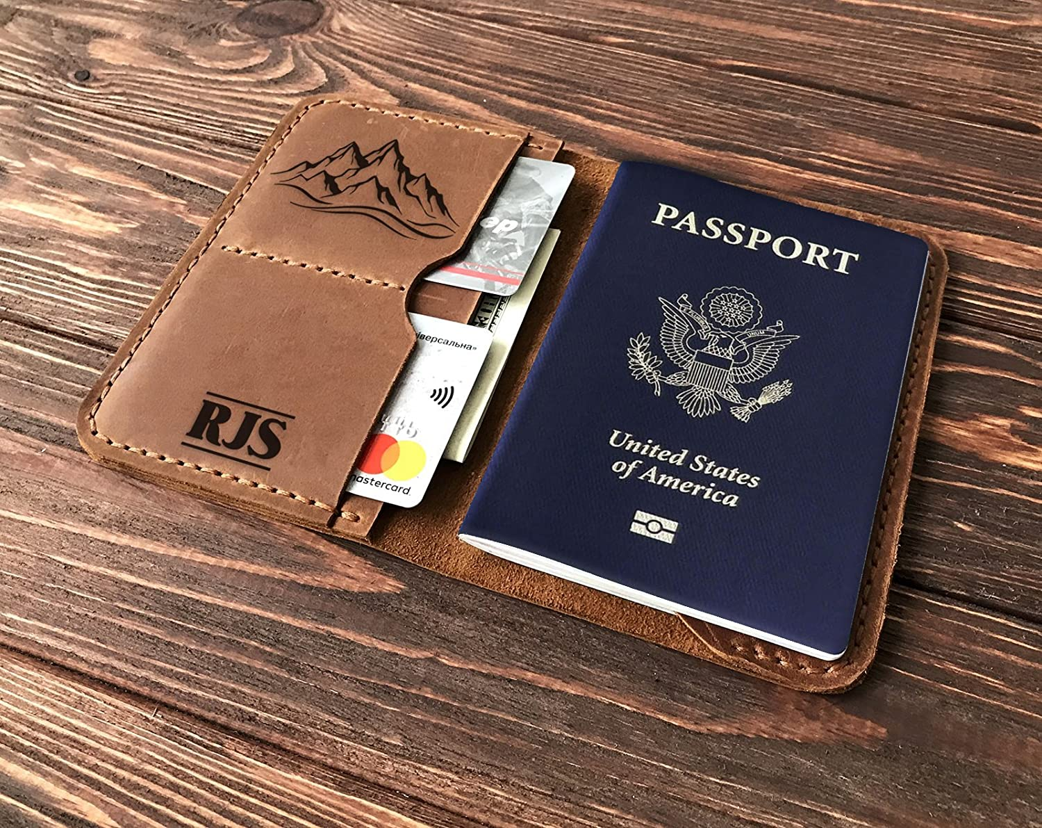 Traveler Wallet Personalized Passport Holder Gift for Traveler Leather Mens Travel Wallet  Husband Birthday Boyfriend Father in Law Gift