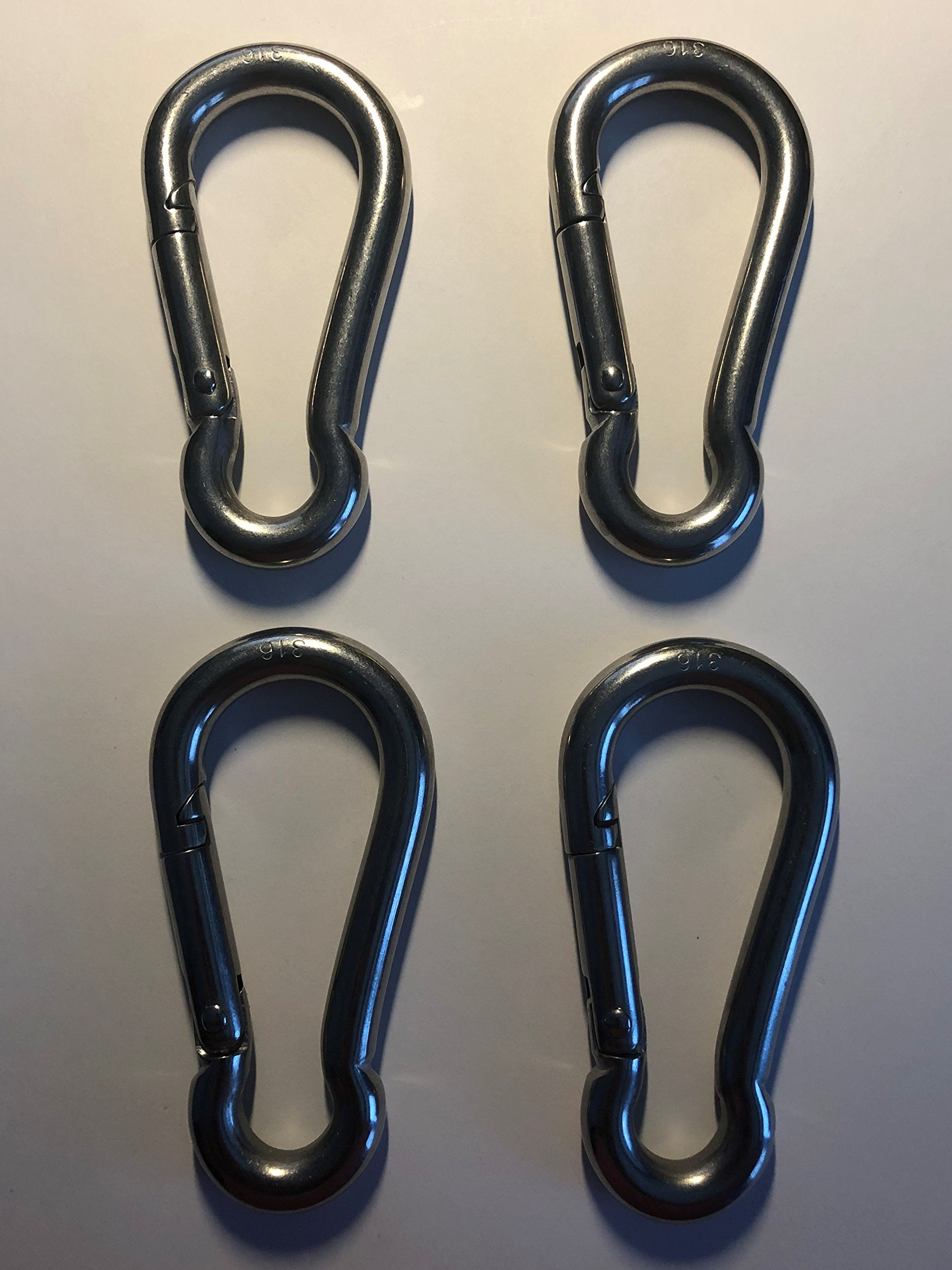 4 Pieces Stainless Steel 316 Spring Hook No Eye Carabiner 3/8'' (10mm) Marine Grade