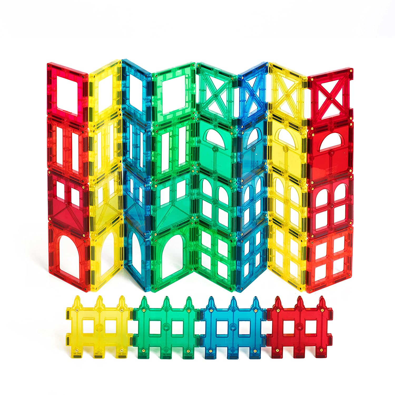 Award Winning Shape Mags 36 pieces Clear transperent colors JUST 3x3 SQUARES 9 Different Designs, Compatible With Magna Tiles and other brands Review