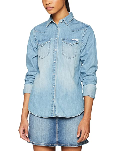 REPLAY Jeanshemd, Camisa Manga Larga para Mujer, Azul (Light Blue 10),