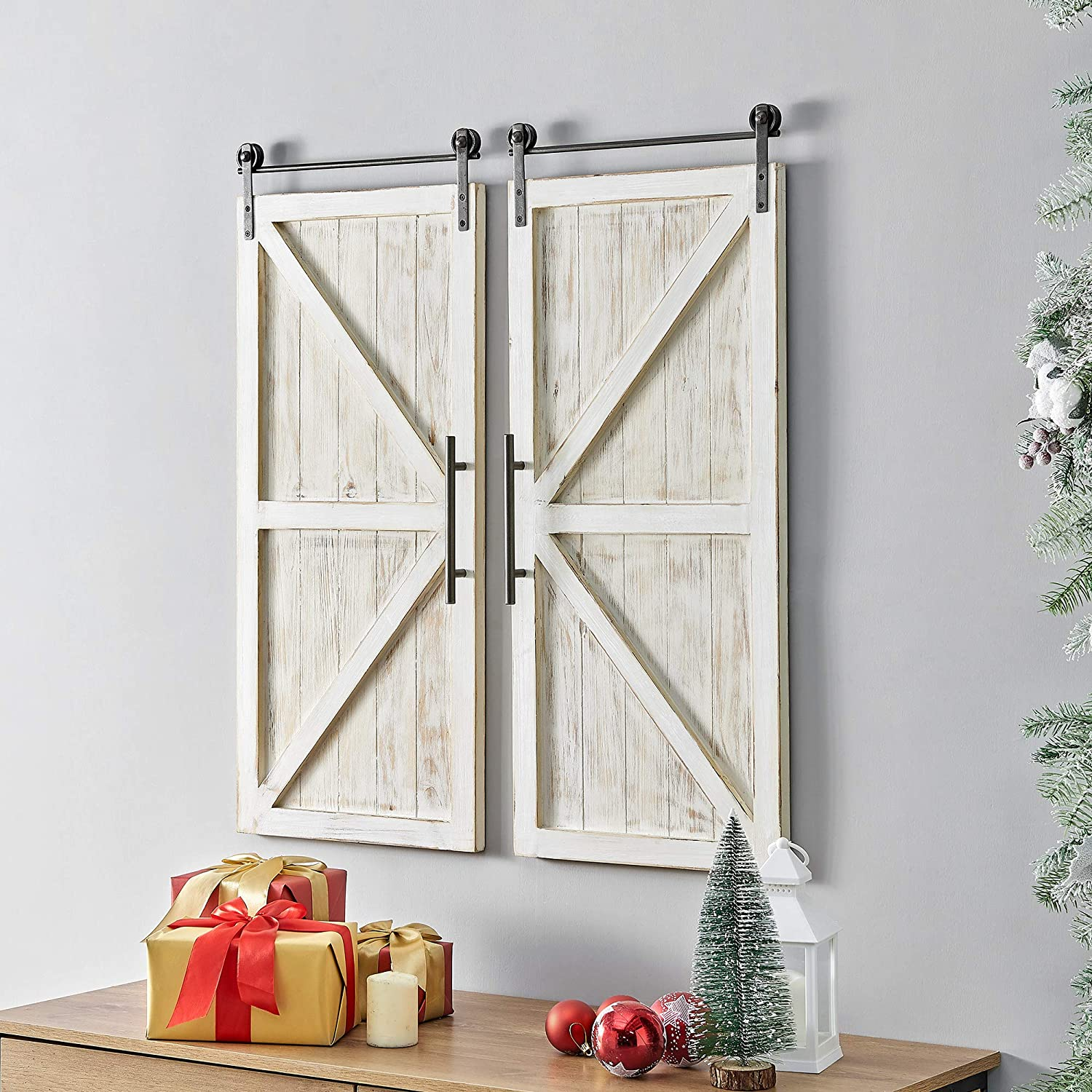 "FirsTime & Co. Carriage House Barn Door Wall Plaque Set, 34""L x 14""W, Aged White, Metallic Gray"