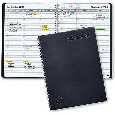 Agenda 2020 2021 con Vista Semanal – Planificador 2020 2021 Semana Vista – Diario Espiral que Inspira Productividad - Intervalos de 30 minutos - Julio 2020 a Agosto 2020, Calendario A4, en Español